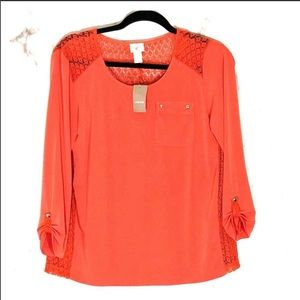 NWT Chico's Leah Lace back 3/4 sleeve top sz. 0